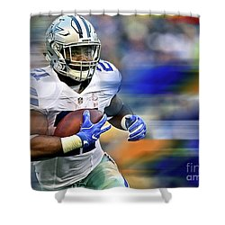 Ezekiel Elliot, Number 21, Running Back, Dallas Cowboys Shower Curtain