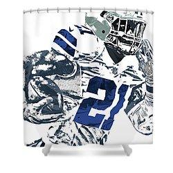 Shower Curtain featuring the mixed media Ezekiel Elliott Dallas Cowboys Pixel Art 6 by Joe Hamilton