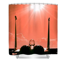 Shower Curtain featuring the photograph F-15-fighter-jet-381746 by Celestial Images
