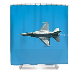 F-16 Full Speed Shower Curtain by Sebastian Musial