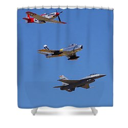 F-16 P-51d F-86 Heritage Flight- Flyby Shower Curtain