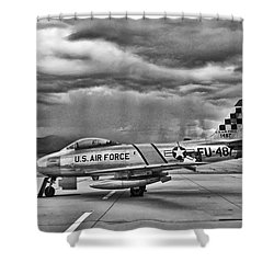 F-86 Sabre Shower Curtain by Douglas Castleman