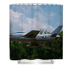 Shower Curtain featuring the digital art F-86l Sabre by Chris Flees