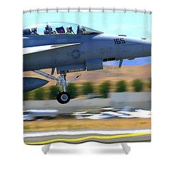 F/a 18 Hornet Departs Hollister Air Show Shower Curtain