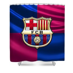 F. C. Barcelona - 3d Badge Over Flag Shower Curtain by Serge Averbukh