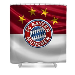 F C Bayern Munich - 3 D Badge Over Flag Shower Curtain by Serge Averbukh