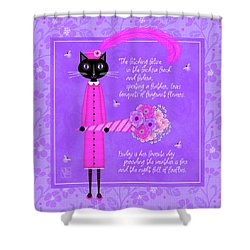 F Is For Fetching Feline And Flowers Shower Curtain