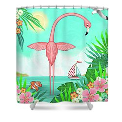 F Is For Flamingo Shower Curtain