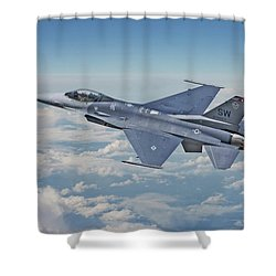 Shower Curtain featuring the digital art F16 - Fighting Falcon by Pat Speirs