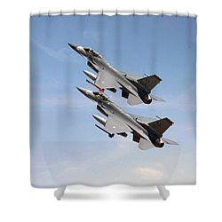 F16  Still The Wild Blue Beckons Shower Curtain by Pat Speirs