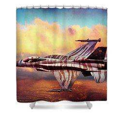 Shower Curtain featuring the photograph F16c Fighting Falcon by Chris Lord