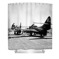 F9f Panther Jets Being Refueled Shower Curtain by Stocktrek Images