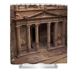Facade Of The Treasury In Petra, Jordan Shower Curtain by Richard Nowitz
