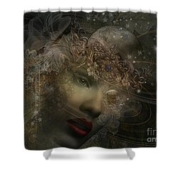 Face Of Space Shower Curtain