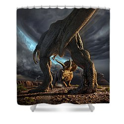 Face Off Shower Curtain by Jerry LoFaro