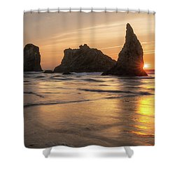 Face Rock Sunset Shower Curtain