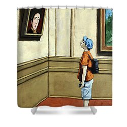 Face To Face - Boy Viewing Art Shower Curtain