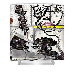 Shower Curtain featuring the digital art Faces In Space by Darren Cannell