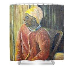 Shower Curtain featuring the painting Facing Freedom by Saundra Johnson