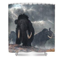 Facing The Mammoths Shower Curtain by Daniel Eskridge