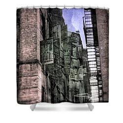 Shower Curtain featuring the photograph Factory Doors - Dumbo by Dave Beckerman