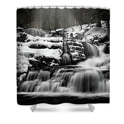 Shower Curtain featuring the photograph Factory Falls In Winter by Chris Lord