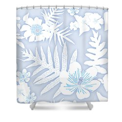 Faded Denim Fern Batik Shower Curtain