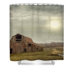 Faded Red Barn Shower Curtain