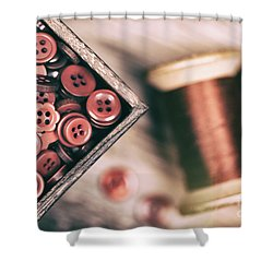 Faded Retro Styled Red Buttons And Thread Shower Curtain