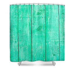 Shower Curtain featuring the photograph Fading Aqua Paint On Wood by John Williams