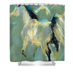 Shower Curtain featuring the pastel Fading Out To Three by Frances Marino