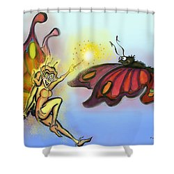 Shower Curtain featuring the painting Faerie N Butterfly by Kevin Middleton
