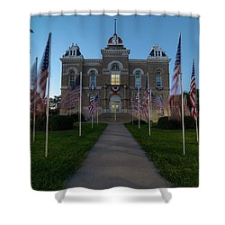 Fairbury Nebraska Avenue Of Flags - September 11 2016 Shower Curtain by Art Whitton