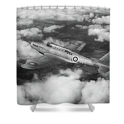 Shower Curtain featuring the photograph Fairey Battle In Flight Bw Version by Gary Eason