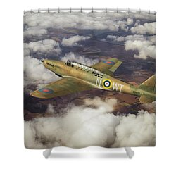 Shower Curtain featuring the photograph Fairey Battle In Flight by Gary Eason
