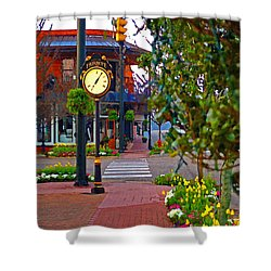 Fairhope Ave With Clock Down Section Street Shower Curtain