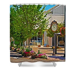 Fairhope Ave With Clock Looking North Up Section Street Shower Curtain