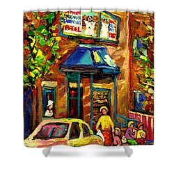 Fairmount Bagel In Montreal Shower Curtain by Carole Spandau