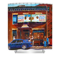 Shower Curtain featuring the painting Fairmount Bagel With Blue Car  by Carole Spandau
