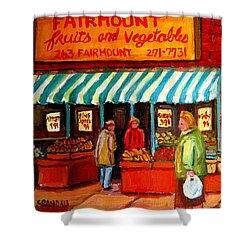 Fairmount Fruit And Vegetables Shower Curtain by Carole Spandau