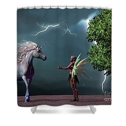 Fairy And Unicorn Shower Curtain by Corey Ford