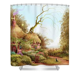 Fairy Chase Cottage Shower Curtain