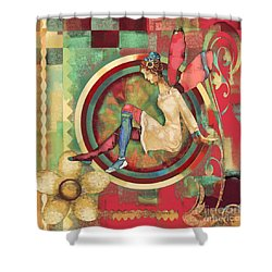 Shower Curtain featuring the mixed media Fairy Land One by Carrie Joy Byrnes