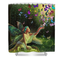 Fairy Of The Butterflies Shower Curtain by Edelberto Cabrera