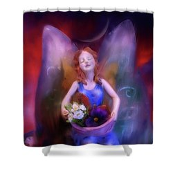 Fairy Of The Garden Shower Curtain by Joseph J Stevens
