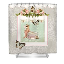 Fairy Teacups - Flutterbye Butterflies And English Rose Damask Shower Curtain