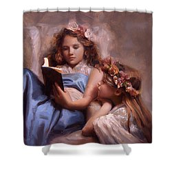 Shower Curtain featuring the painting Fairytales And Lace - Portrait Of Girls Reading A Book by Karen Whitworth