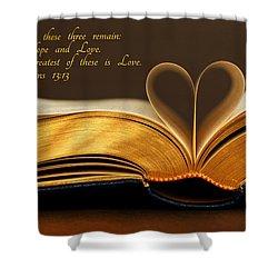 Faith. Hope. Love. Shower Curtain