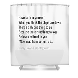 Faith Shower Curtain by Patsy Jawo