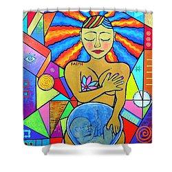Faith, She Carries The World On Her Hips Shower Curtain by Jeremy Aiyadurai